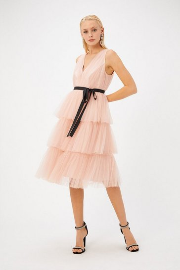 Womens Peach Tulle Midi Dress