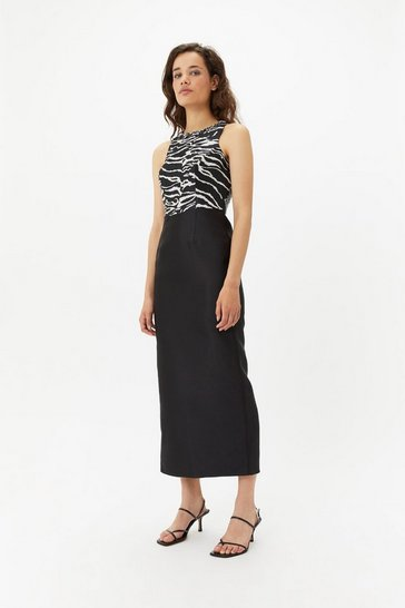Womens Black Zebra Embellished Maxi Dress