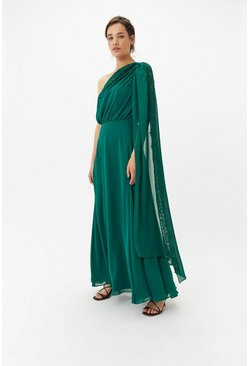 Forest One Shoulder Lace Maxi Dress