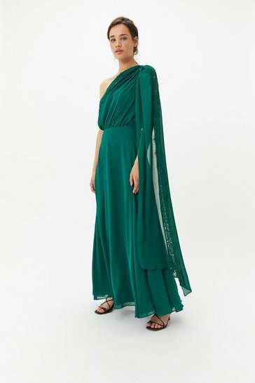 Womens Forest One Shoulder Lace Maxi Dress