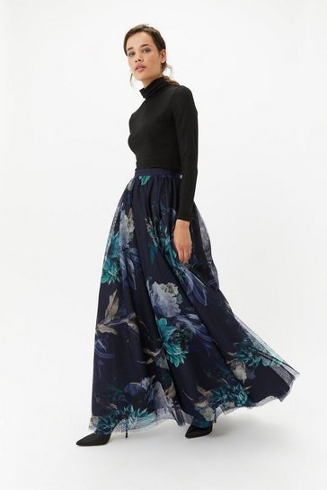 Womens Multi Floral Tulle Maxi Skirt