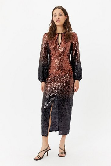 Womens Bronze Ombre Sequin Maxi Dress