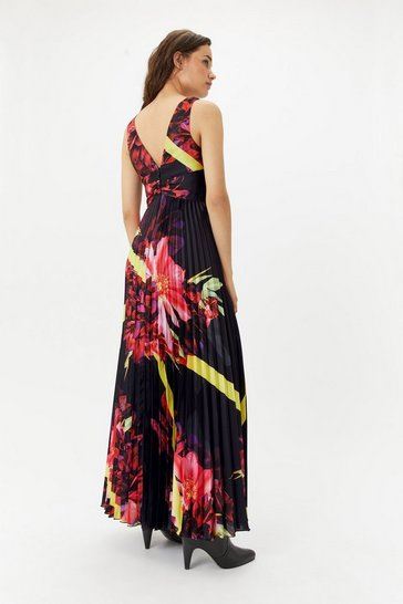 Womens Multi Curve Scarf Printed Maxi Dress