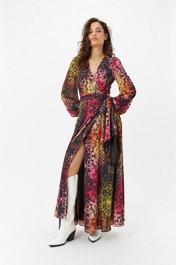 Womens Multi Rainbow Snakeskin Dress