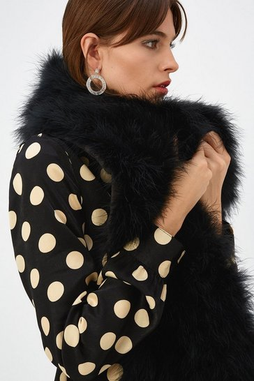 Womens Black Fluffy Faux-Fur Scarf