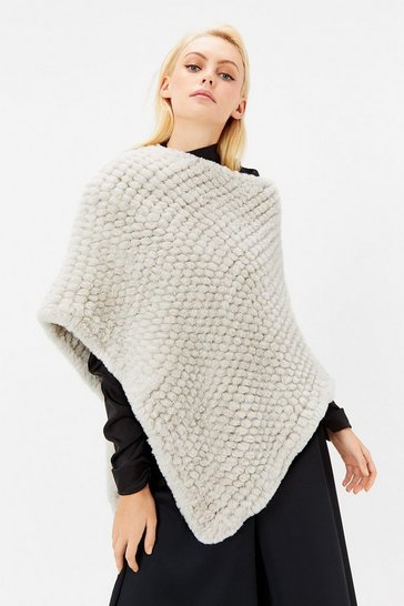 Womens Ivory Bobble Faux Fur Poncho