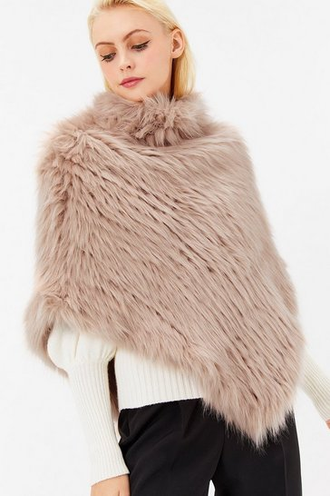 Womens Blush Faux Roll Neck Poncho