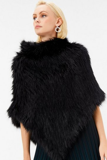 Black Faux Fur Roll Neck Poncho