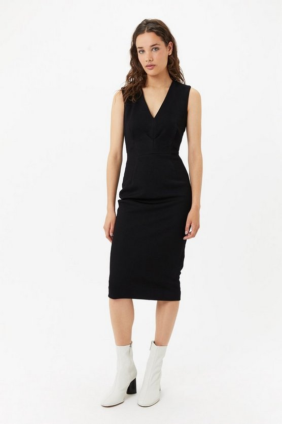 Womens Black V-Neck Midi Dress