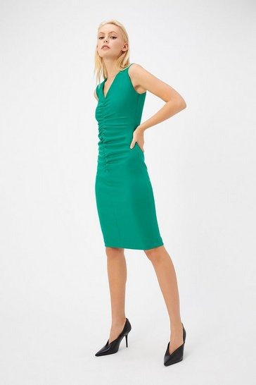 Womens Forest Ruched Scuba Dress