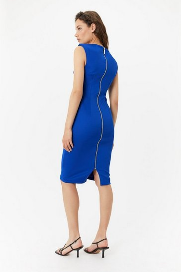 Womens Blue Curve Scuba Ruched Shift Dress