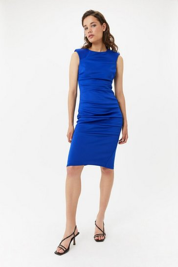 Womens Blue Scuba Pencil Dress