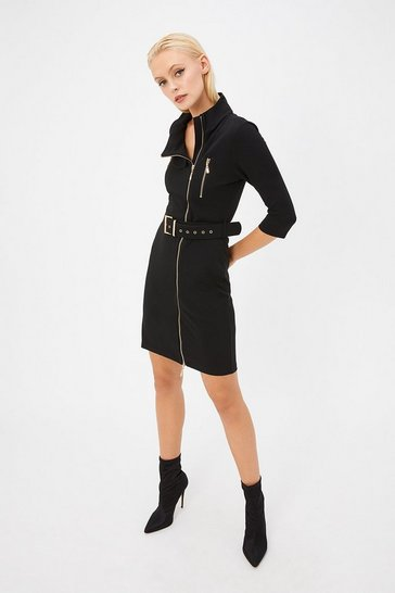Womens Black Belt Waist Mini Dress