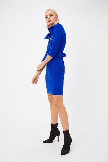 Womens Cobalt Belt Waist Mini Dress