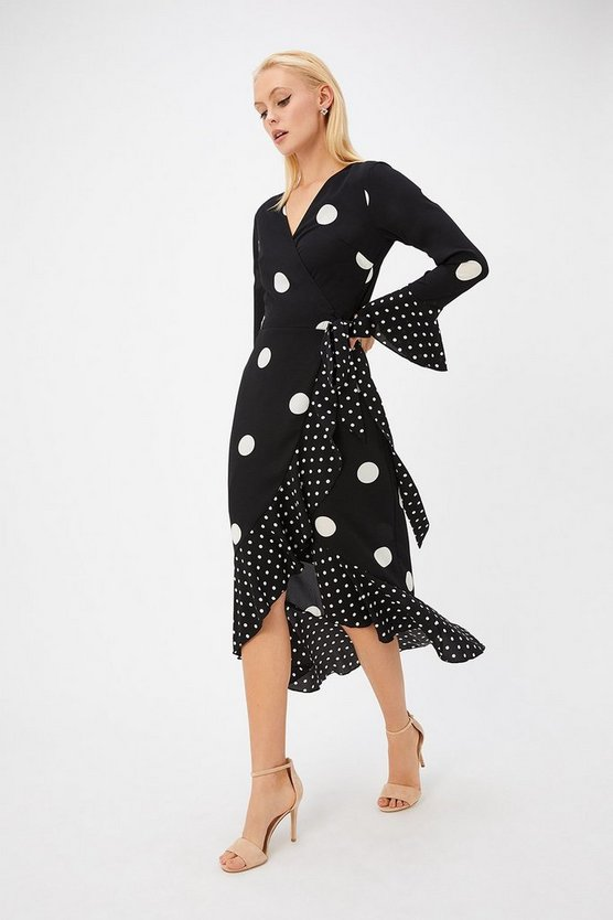 Womens Black Polkadot Frill Midi Dress