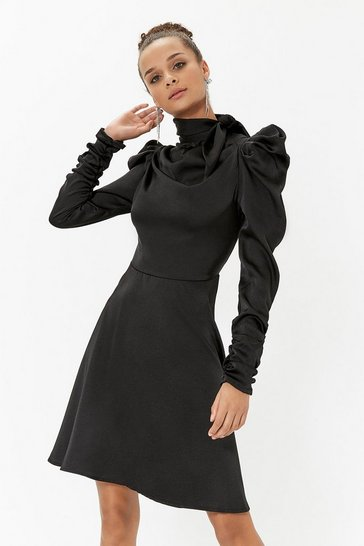 Womens Black Satin Pussy Bow Skater Dress