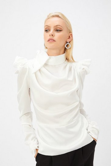 Womens Ivory Satin Pussy Bow Blouse