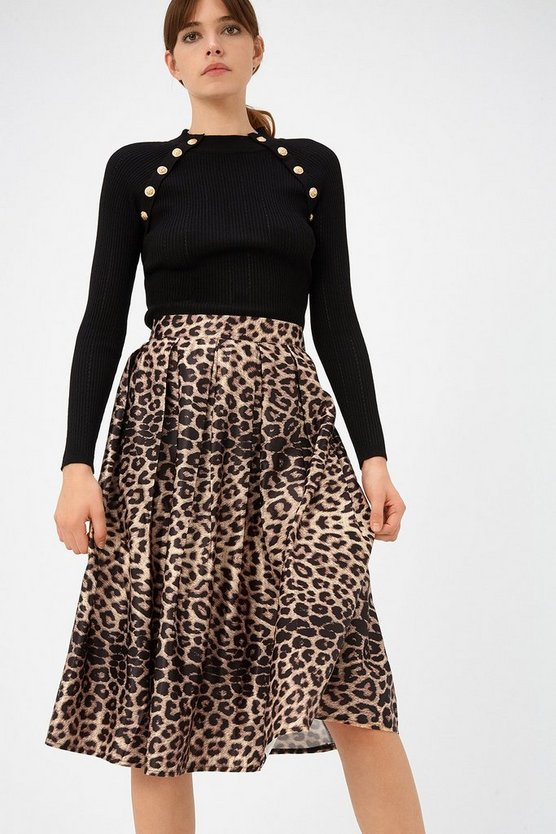 Womens Brown Leopard Pleat Satin Skater Skirt