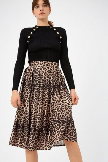 Brown Leopard Pleat Satin Skater Skirt