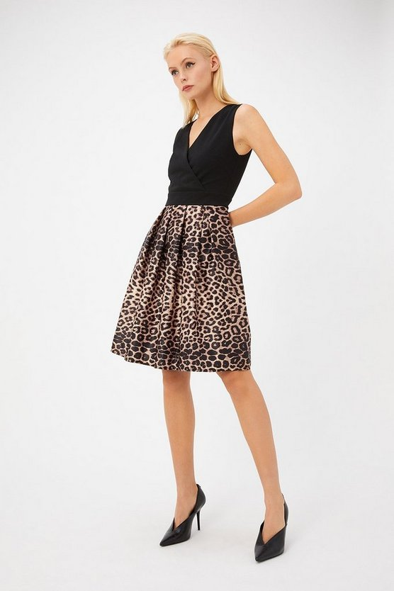Womens Black Satin Leopard Contrast Skater Dress