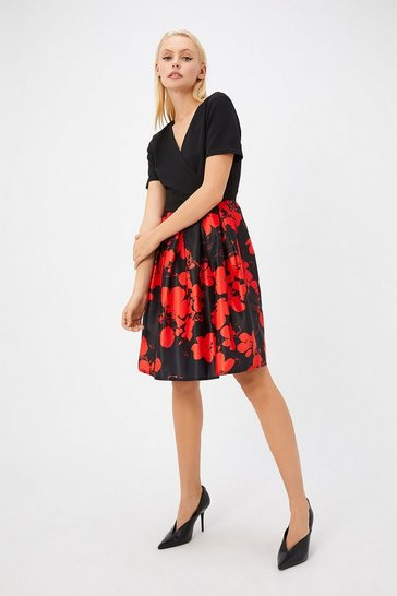 Womens Black Floral Skater Dress