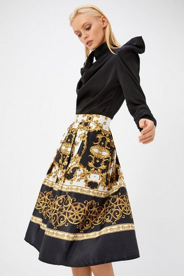 Womens Ivory Satin Pleated Chain Print Midi Skirt
