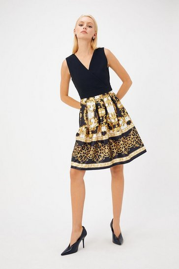 Womens Black Baroque Skater Dress