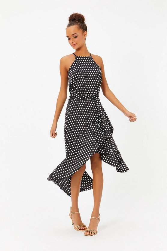 Black Polkadot Ruffle Midi Dress