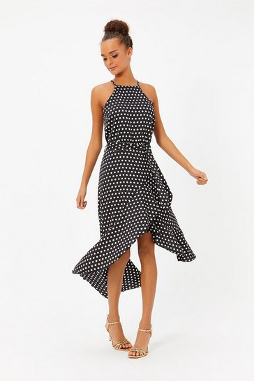 Womens Black Polkadot Ruffle Midi Dress