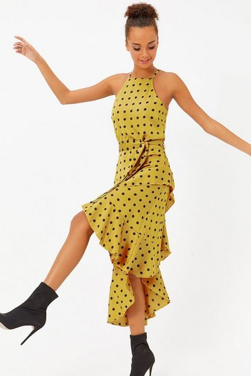 Womens Mustard Polkadot Ruffle Midi Dress