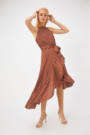 Womens Tan Polkadot Ruffle Midi Dress