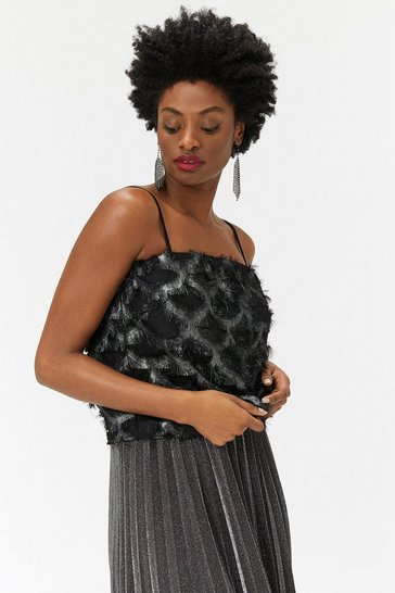 Womens Black Metallic Trim Cami
