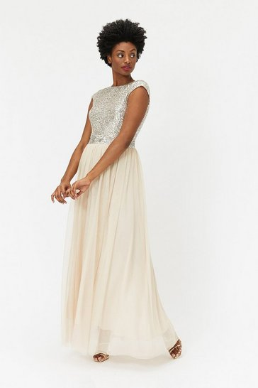 Womens Beige Sequin Maxi Tulle Dress