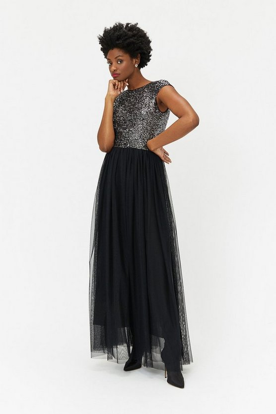 Silver Sleeveless Sequin Bodice Tulle Skirt Maxi Dress