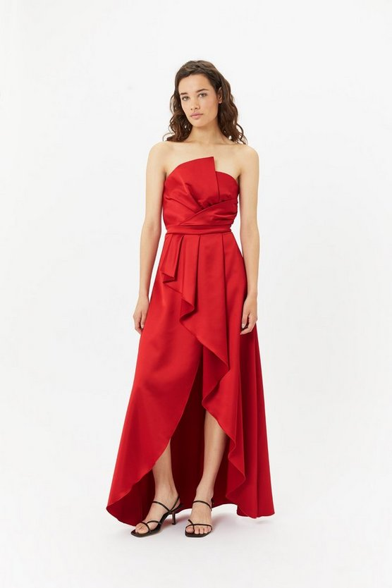Red Structured Ruffle Hi Low Maxi Dress