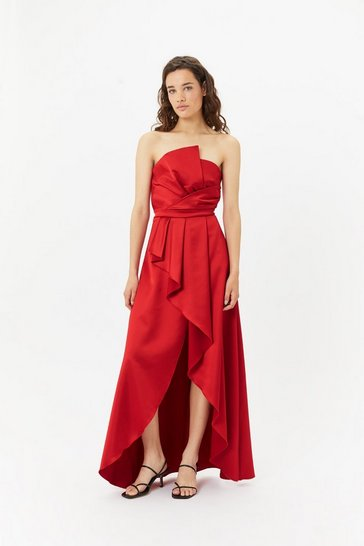 Womens Red Structured Ruffle Dress