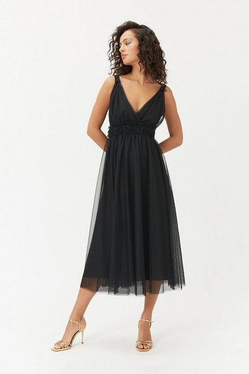 Womens Black Tulle Skater Midi Dress
