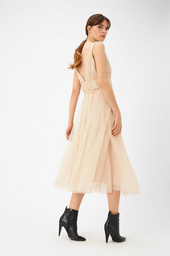 Womens Blush Tulle Skater Midi Dress