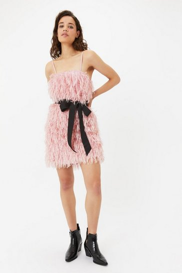 Blush Faux Feather Mini Dress