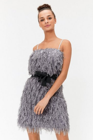 Grey Faux Feather Mini Dress
