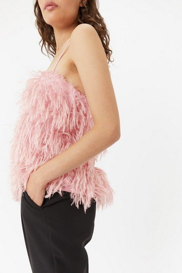 Womens Blush Faux Feather Cami Top