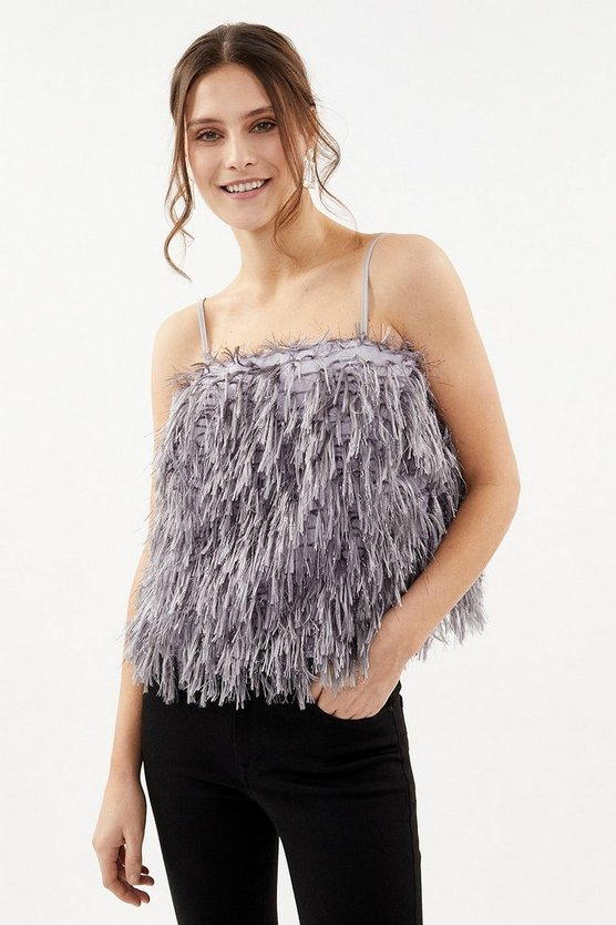 Grey Strappy Faux Feather Cami Top