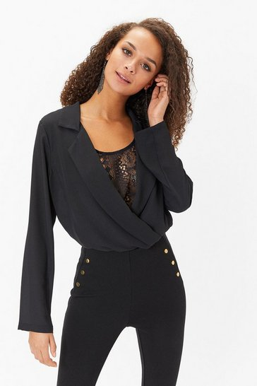 Womens Black Lace Detail Body