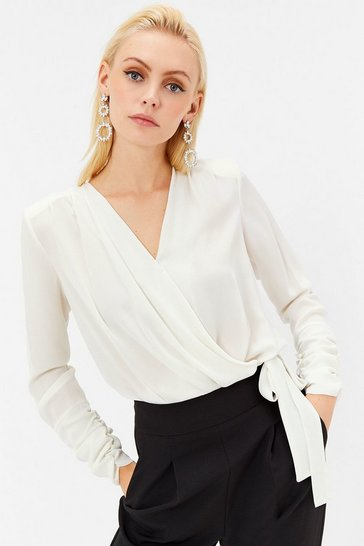 Womens Ivory Woven Ruched Sleeve Wrap Body
