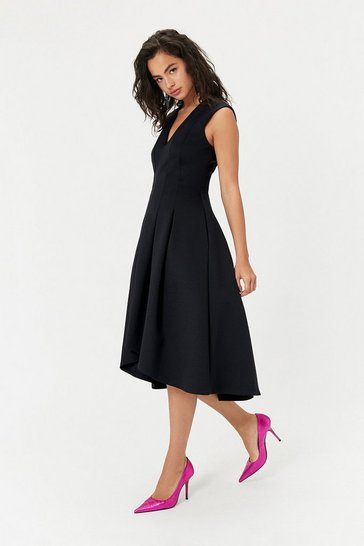 Womens Black Full Midi Dress