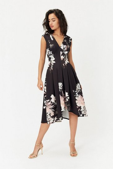 Black Scuba Full Midi Dress