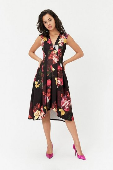 Womens Multi Scuba Full Midi Dress