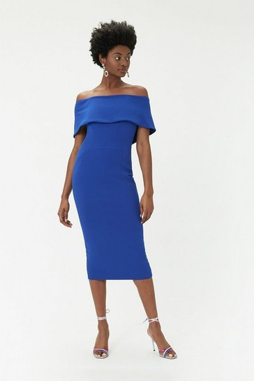 Womens Cobalt Scuba Bardot Dress