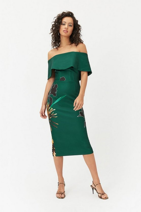 Womens Multi Bardot Midi Dress