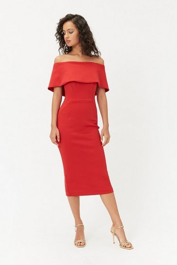 Womens Red Bardot Midi Dress